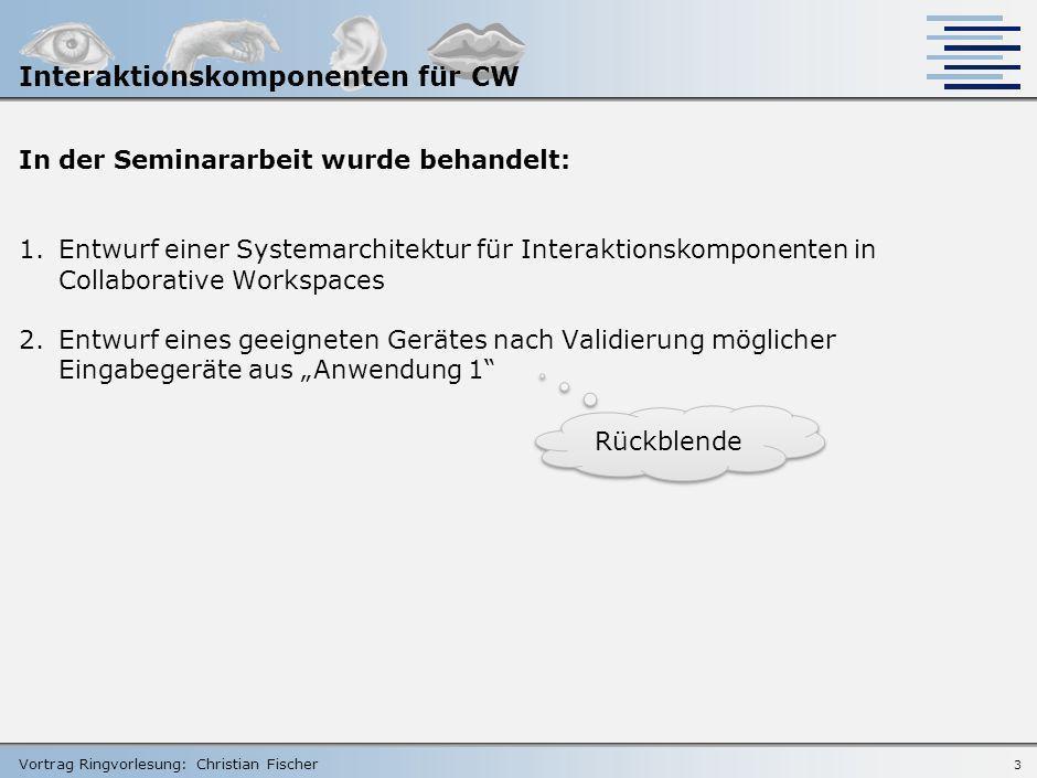 Vortrag Ringvorlesung: Christian Fischer Einordnung in das gesamte Masterprojekt Komponenten der Masterarbeit 2 Interaktionskomponenten für CW Einleit