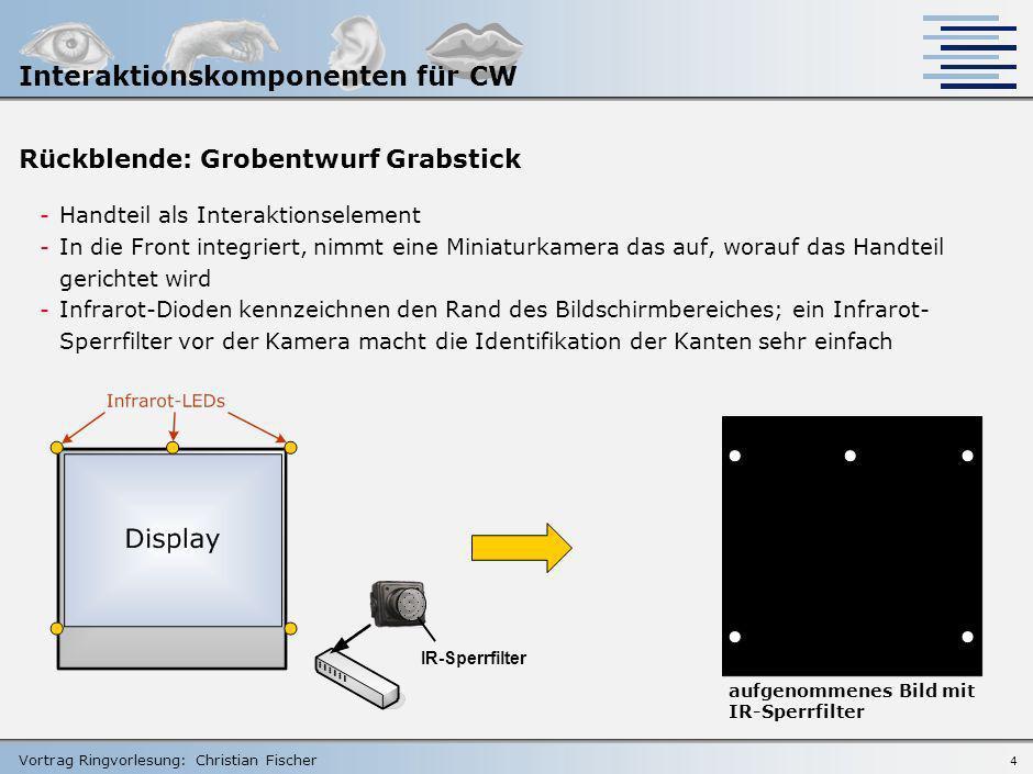 Vortrag Ringvorlesung: Christian Fischer 3 In der Seminararbeit wurde behandelt: 1.Entwurf einer Systemarchitektur für Interaktionskomponenten in Coll