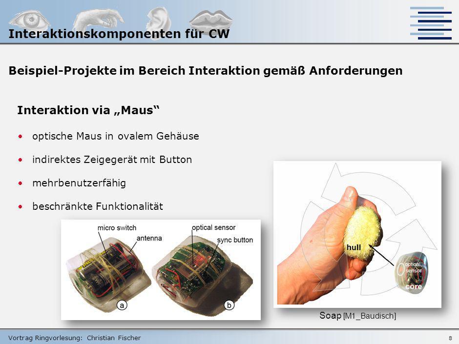 Vortrag Ringvorlesung: Christian Fischer 7 Beispiel-Projekte im Bereich Interaktion gemäß Anforderungen Interaktion via Handheld frei von zusätzlichen