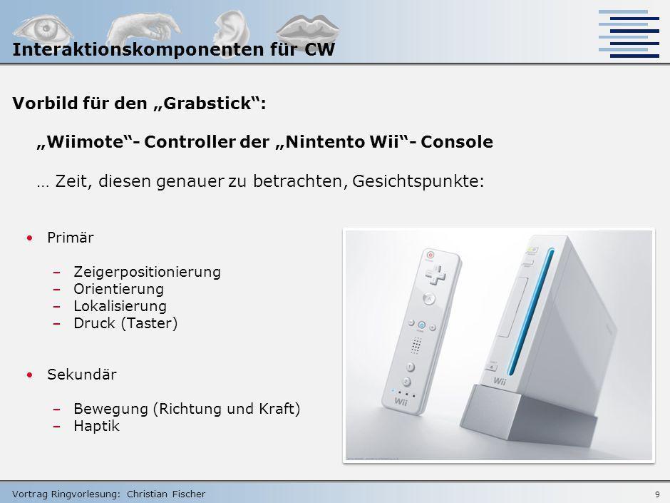Vortrag Ringvorlesung: Christian Fischer 8 Beispiel-Projekte im Bereich Interaktion gemäß Anforderungen Interaktion via Maus optische Maus in ovalem G
