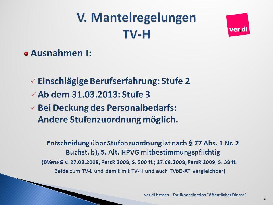 Ausnahmen I: Einschlägige Berufserfahrung: Stufe 2 Ab dem 31.03.2013: Stufe 3 Bei Deckung des Personalbedarfs: Andere Stufenzuordnung möglich. Entsche