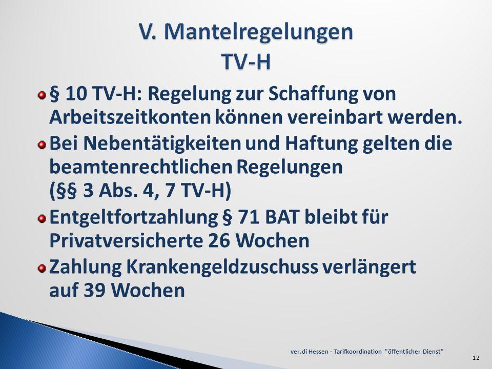 § 10 TV-H: Regelung zur Schaffung von Arbeitszeitkonten können vereinbart werden. Bei Nebentätigkeiten und Haftung gelten die beamtenrechtlichen Regel