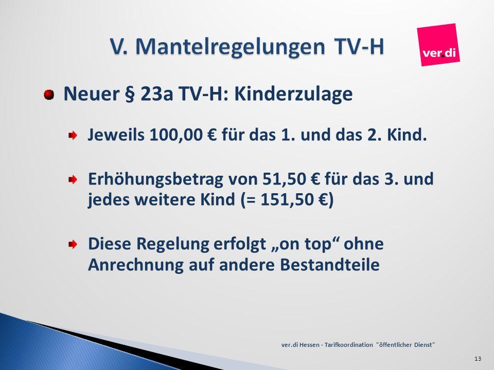 Neuer § 23a TV-H: Kinderzulage Jeweils 100,00 für das 1. und das 2. Kind. Erhöhungsbetrag von 51,50 für das 3. und jedes weitere Kind (= 151,50 ) Dies