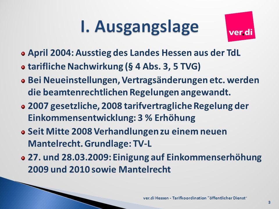 April 2004: Ausstieg des Landes Hessen aus der TdL tarifliche Nachwirkung (§ 4 Abs. 3, 5 TVG) Bei Neueinstellungen, Vertragsänderungen etc. werden die