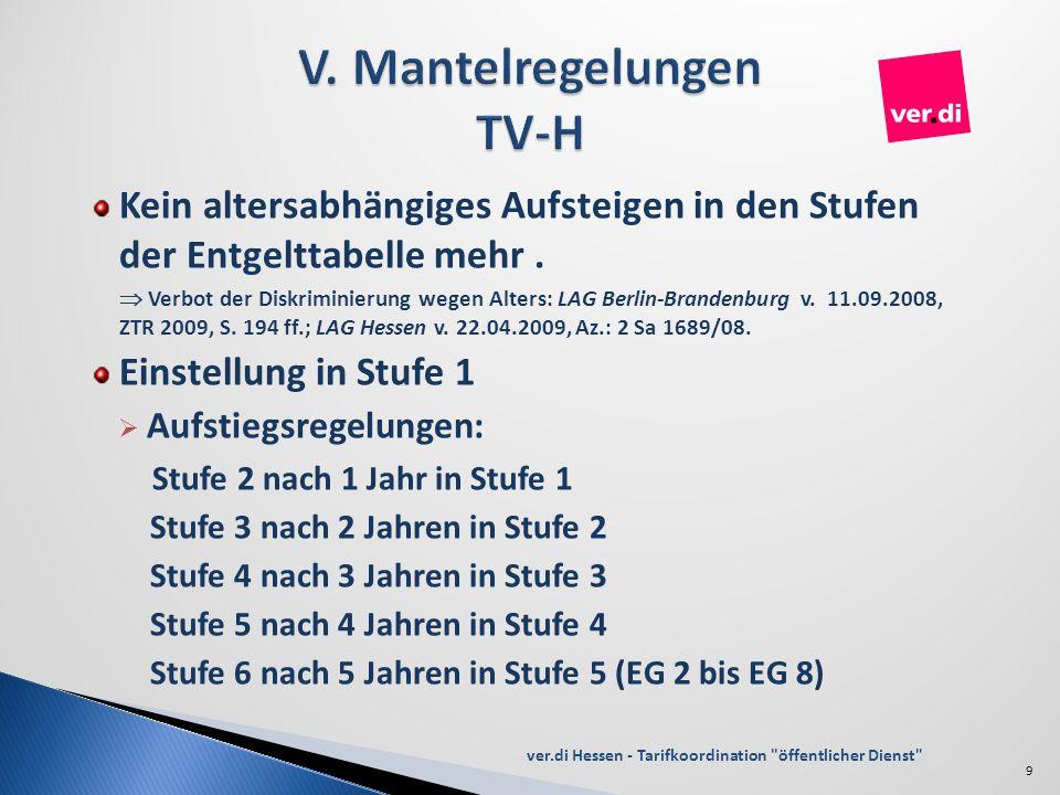 Kein altersabhängiges Aufsteigen in den Stufen der Entgelttabelle mehr. Verbot der Diskriminierung wegen Alters: LAG Berlin-Brandenburg v. 11.09.2008,