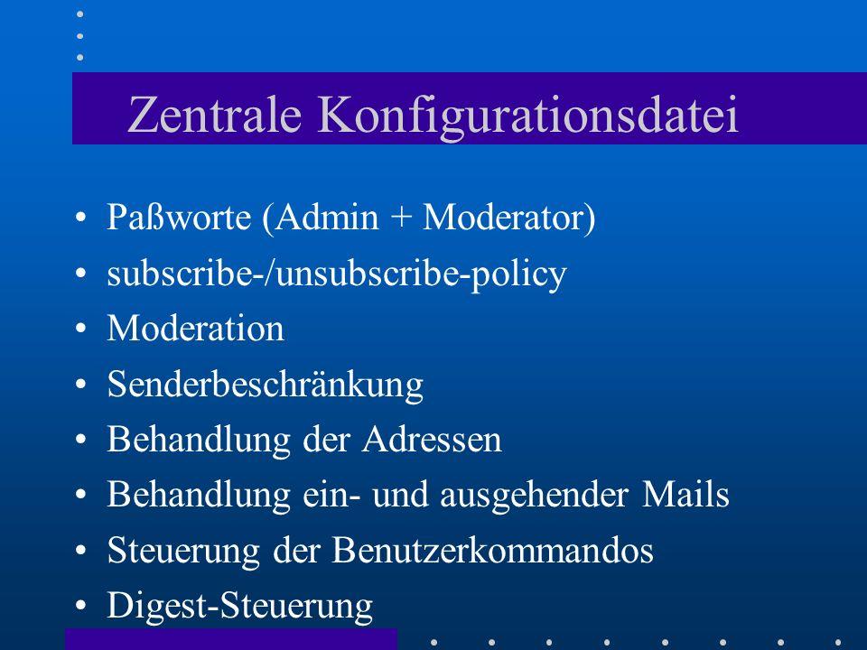 Zentrale Konfigurationsdatei Paßworte (Admin + Moderator) subscribe-/unsubscribe-policy Moderation Senderbeschränkung Behandlung der Adressen Behandlu