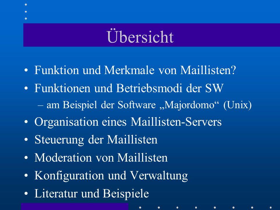 Benutzerkommandos (2) Inhaltsverzeichnis des Archivs –index ListName Abrufen von Dateien aus dem Archiv –get ListName DateiName Bearbeitung der Kommandos beenden –end To: majordomo@hrz.uni-kassel.de Subject: TEST subscribe ghknet who ghknet which lists index ghknet end To: majordomo@hrz.uni-kassel.de Subject: TEST subscribe ghknet who ghknet which lists index ghknet end From: Majordomo@hrz.uni-kassel.de Subject: Majordomo results: TEST >>>> index ghknet ghknet.199906 ghknet.199907 ghknet.199908 ghknet.199909 ghknet.199910 ghknet.199911 From: Majordomo@hrz.uni-kassel.de Subject: Majordomo results: TEST >>>> index ghknet ghknet.199906 ghknet.199907 ghknet.199908 ghknet.199909 ghknet.199910 ghknet.199911