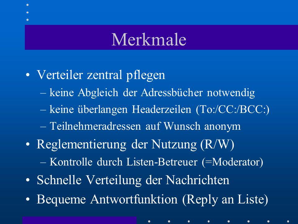 Betriebsmodi von Maillisten Geschlossene Liste –An- und/oder Abmeldung nur über Moderator Moderierte Liste –Moderator zensiert eingeschickte Mails –nur freigegebene Mails werden an die Liste weitergeleitet Senderbeschränkte Liste –Schreibberechtigung nur für bestimmten Personenkreis
