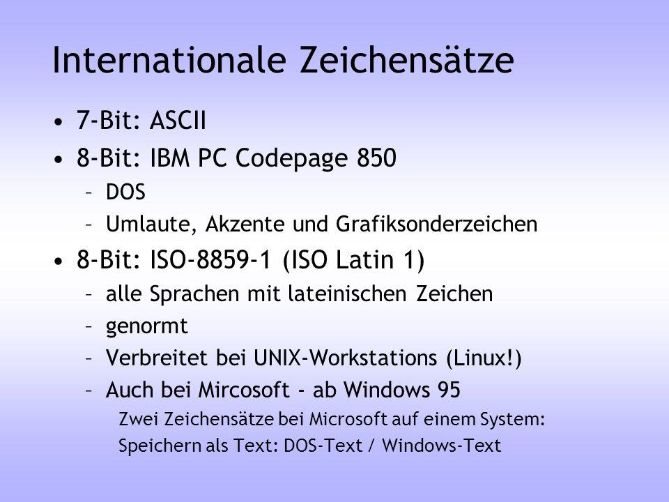 Internationale Zeichensätze 7-Bit: ASCII 8-Bit: IBM PC Codepage 850 –DOS –Umlaute, Akzente und Grafiksonderzeichen 8-Bit: ISO-8859-1 (ISO Latin 1) –al