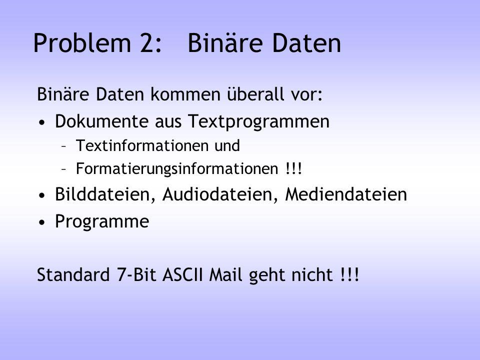 Problem 2: Binäre Daten Binäre Daten kommen überall vor: Dokumente aus Textprogrammen –Textinformationen und –Formatierungsinformationen !!! Bilddatei