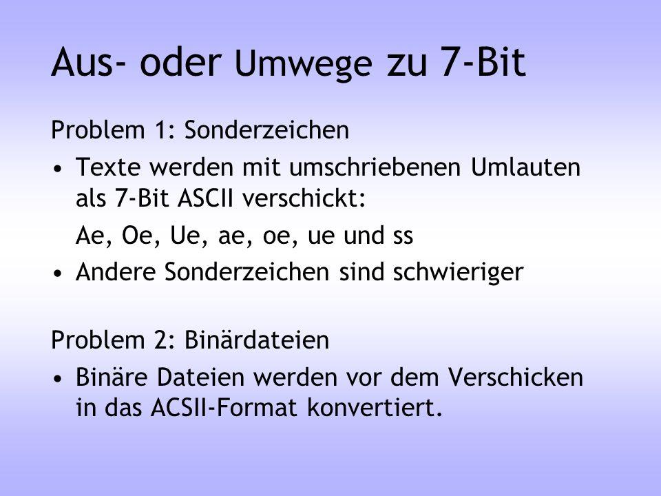 Aus- oder Umwege zu 7-Bit Problem 1: Sonderzeichen Texte werden mit umschriebenen Umlauten als 7-Bit ASCII verschickt: Ae, Oe, Ue, ae, oe, ue und ss A