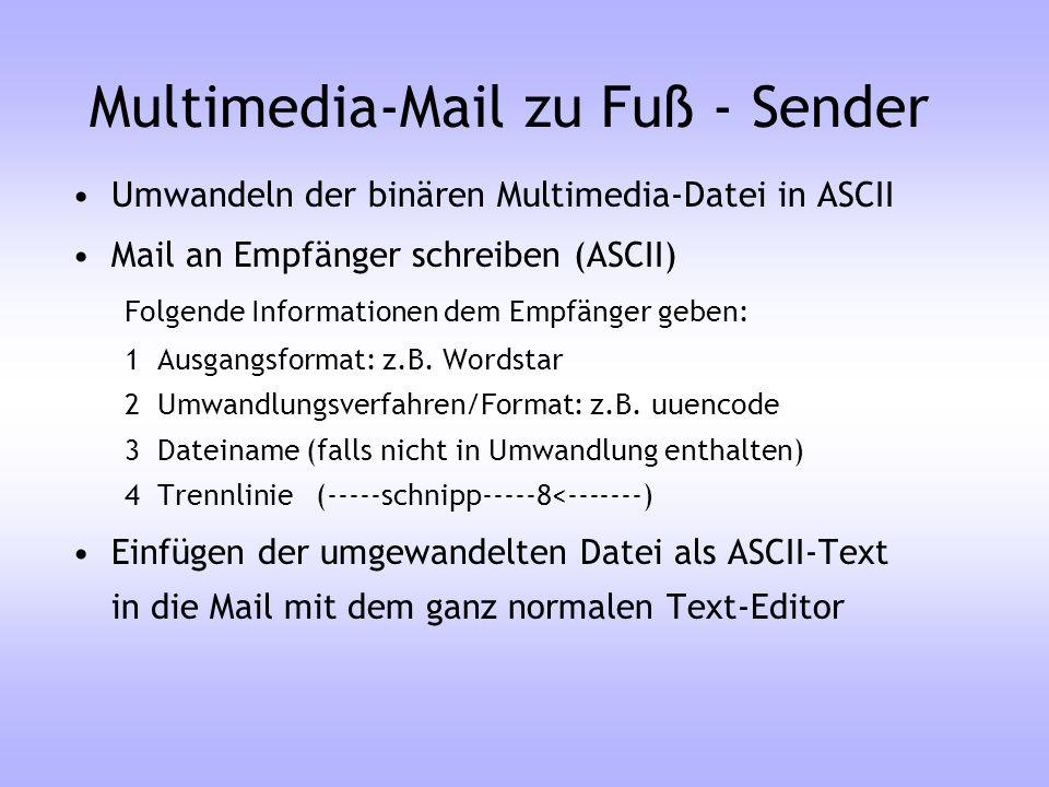 Multimedia-Mail zu Fuß - Sender Umwandeln der binären Multimedia-Datei in ASCII Mail an Empfänger schreiben (ASCII) Folgende Informationen dem Empfäng