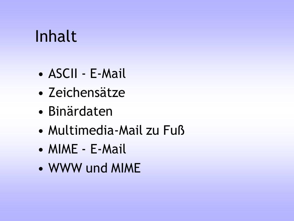 E-Mail Erweiterungen Content-Transfer-Encoding –7-Bit ASCII-Text E-Mail-System ist Basis –8-Bit Dateien werden in ASCII gepackt, Encoding sagt, wie das passiert ist Encodings gemäß RFC: –Quoted-Printableähnlich Ae oder A –Base64ähnlich uuencode