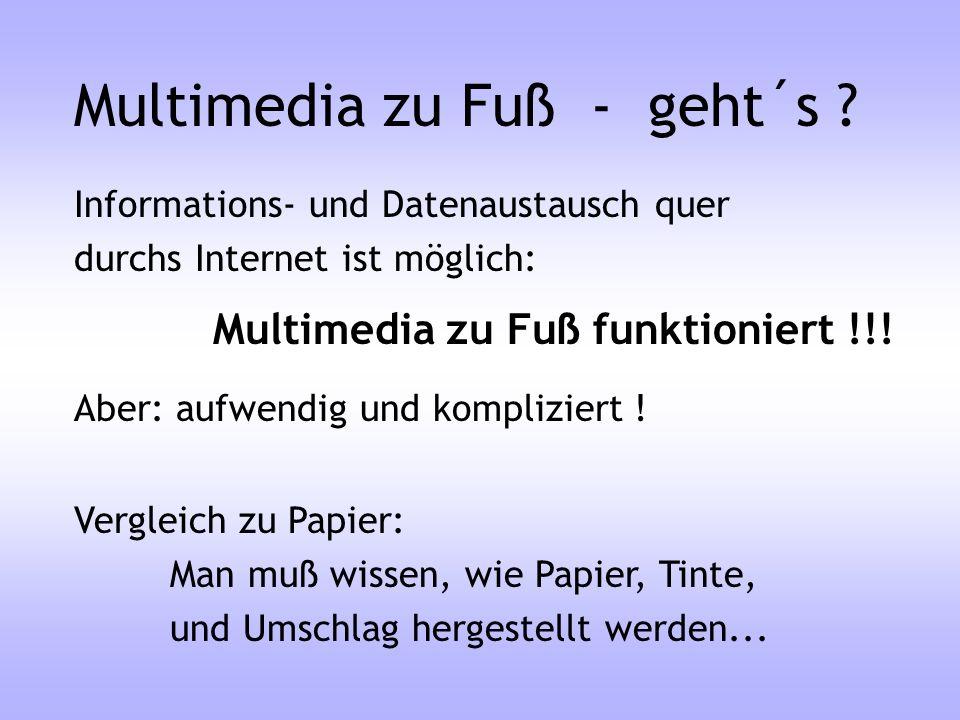 Multimedia zu Fuß - geht´s ? Informations- und Datenaustausch quer durchs Internet ist möglich: Multimedia zu Fuß funktioniert !!! Aber: aufwendig und