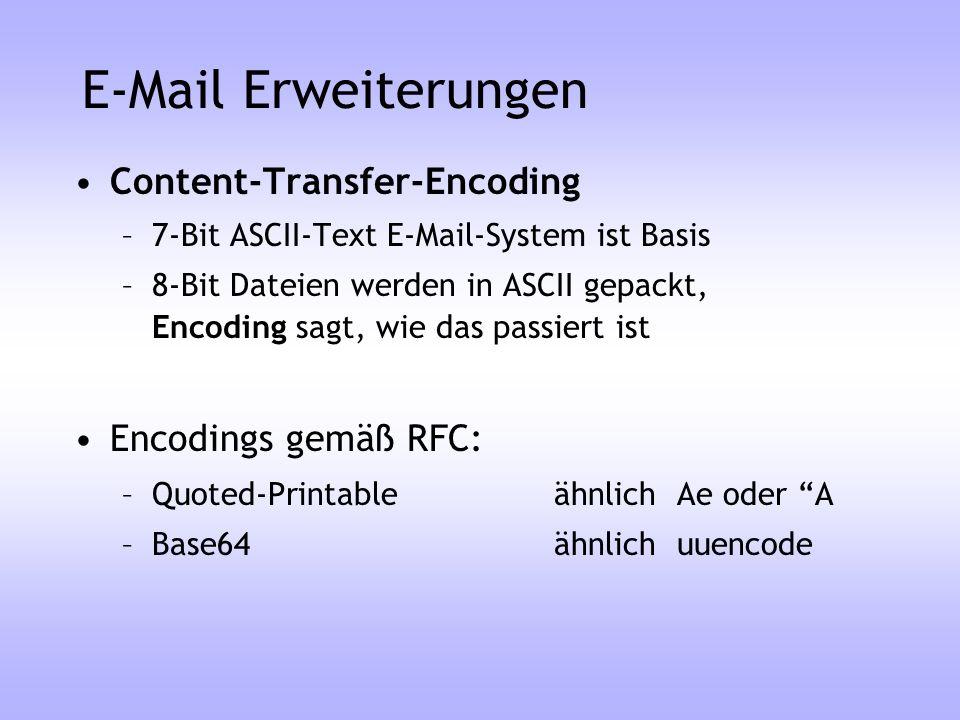 E-Mail Erweiterungen Content-Transfer-Encoding –7-Bit ASCII-Text E-Mail-System ist Basis –8-Bit Dateien werden in ASCII gepackt, Encoding sagt, wie da