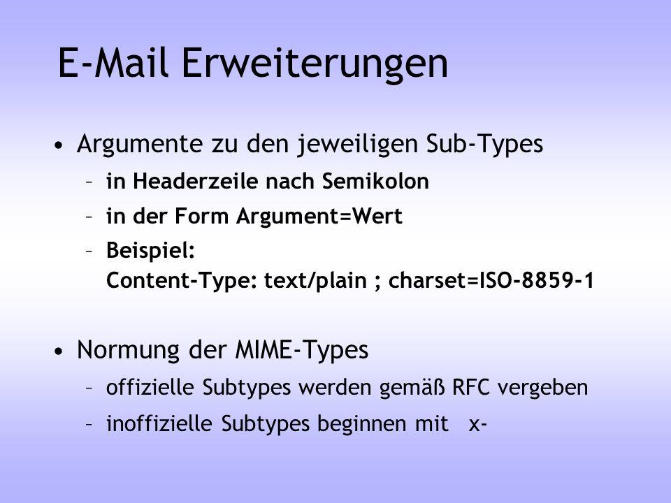 E-Mail Erweiterungen Argumente zu den jeweiligen Sub-Types –in Headerzeile nach Semikolon –in der Form Argument=Wert –Beispiel: Content-Type: text/pla