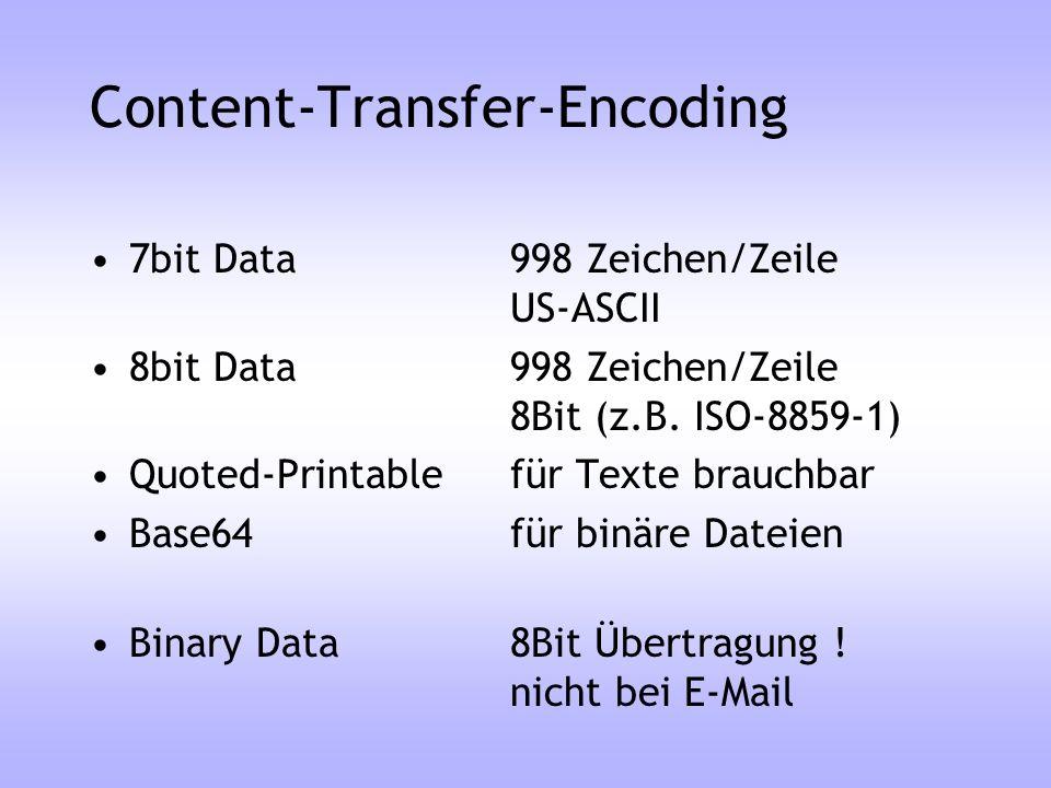 Content-Transfer-Encoding 7bit Data998 Zeichen/Zeile US-ASCII 8bit Data998 Zeichen/Zeile 8Bit (z.B. ISO-8859-1) Quoted-Printablefür Texte brauchbar Ba