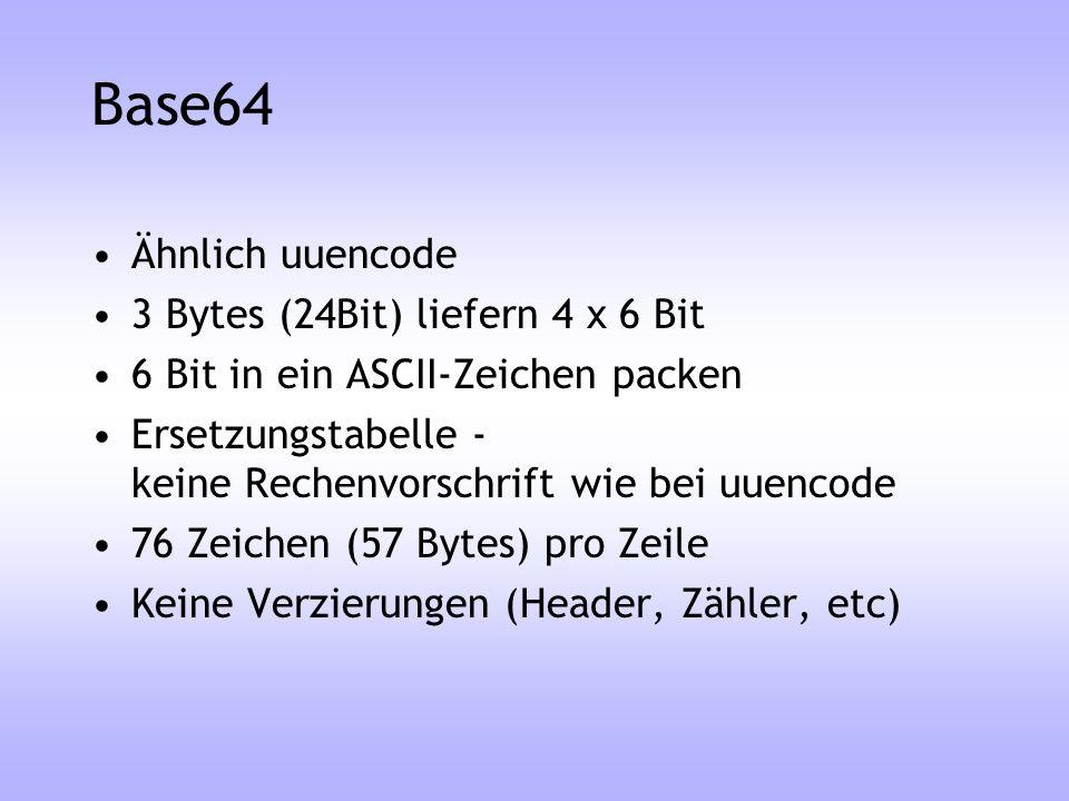 Base64 Ähnlich uuencode 3 Bytes (24Bit) liefern 4 x 6 Bit 6 Bit in ein ASCII-Zeichen packen Ersetzungstabelle - keine Rechenvorschrift wie bei uuencod