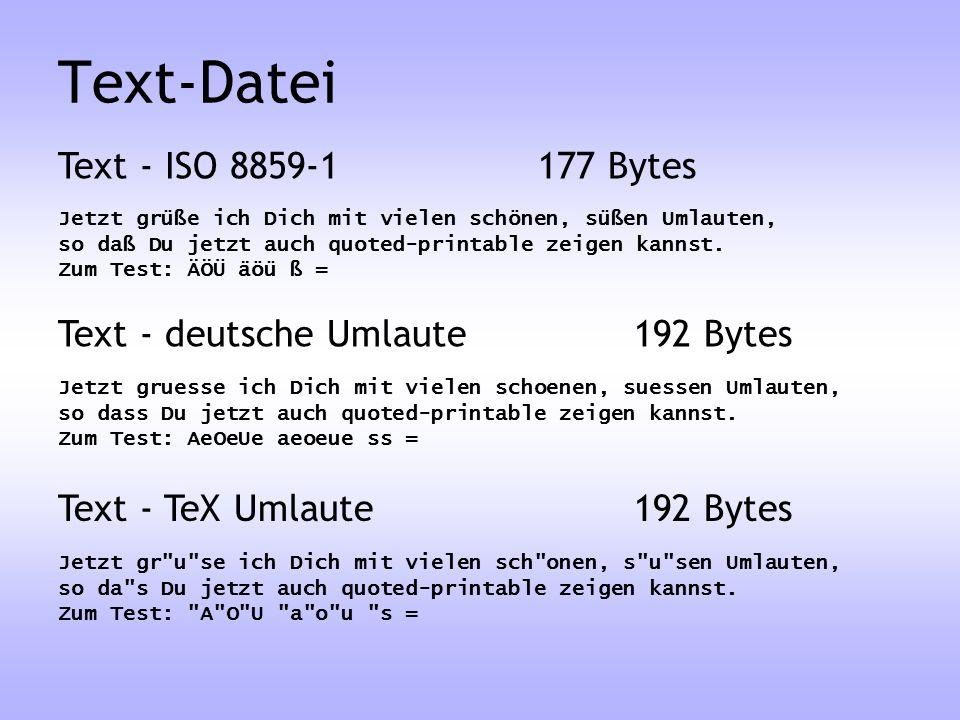 Jetzt grüße ich Dich mit vielen schönen, süßen Umlauten, so daß Du jetzt auch quoted-printable zeigen kannst. Zum Test: ÄÖÜ äöü ß = Text - ISO 8859-11