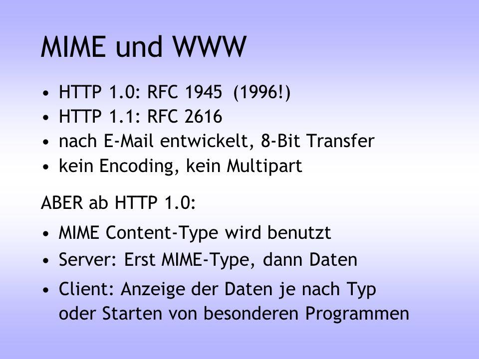 MIME und WWW HTTP 1.0: RFC 1945(1996!) HTTP 1.1: RFC 2616 nach E-Mail entwickelt, 8-Bit Transfer kein Encoding, kein Multipart ABER ab HTTP 1.0: MIME
