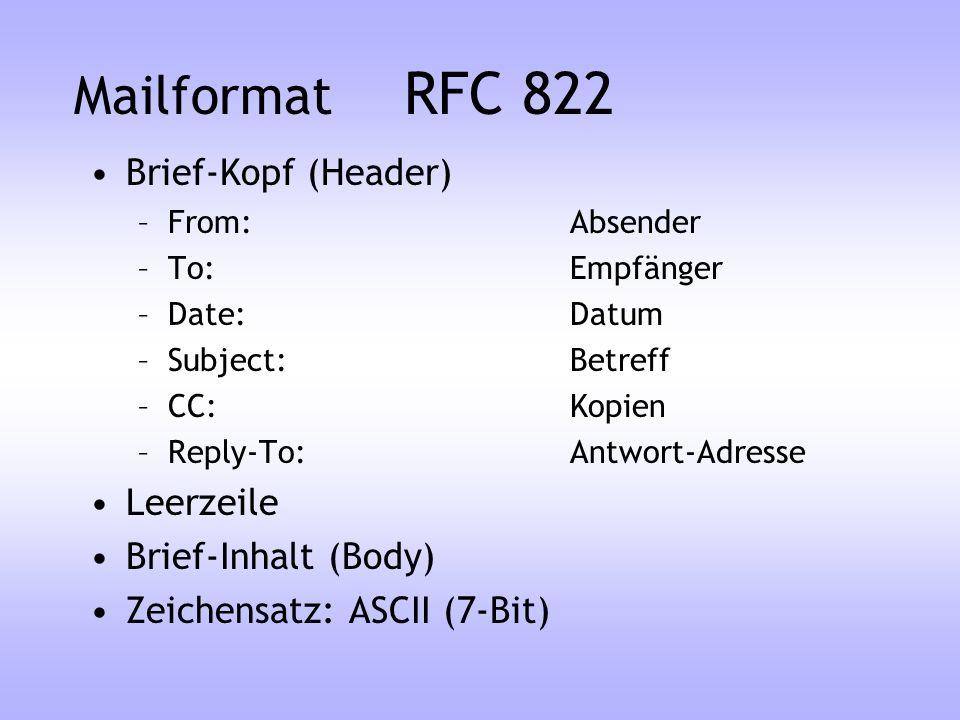 SMTP E-Mail (RFC 821/822) Weltweite Übertragung von E-Mail Funktioniert perfekt mit ASCII-Zeichensatz (englische Texte) Text ist in Zeilen gegliedert (Zeilen haben weniger als 998 Zeichen) Herstellerunabhängig