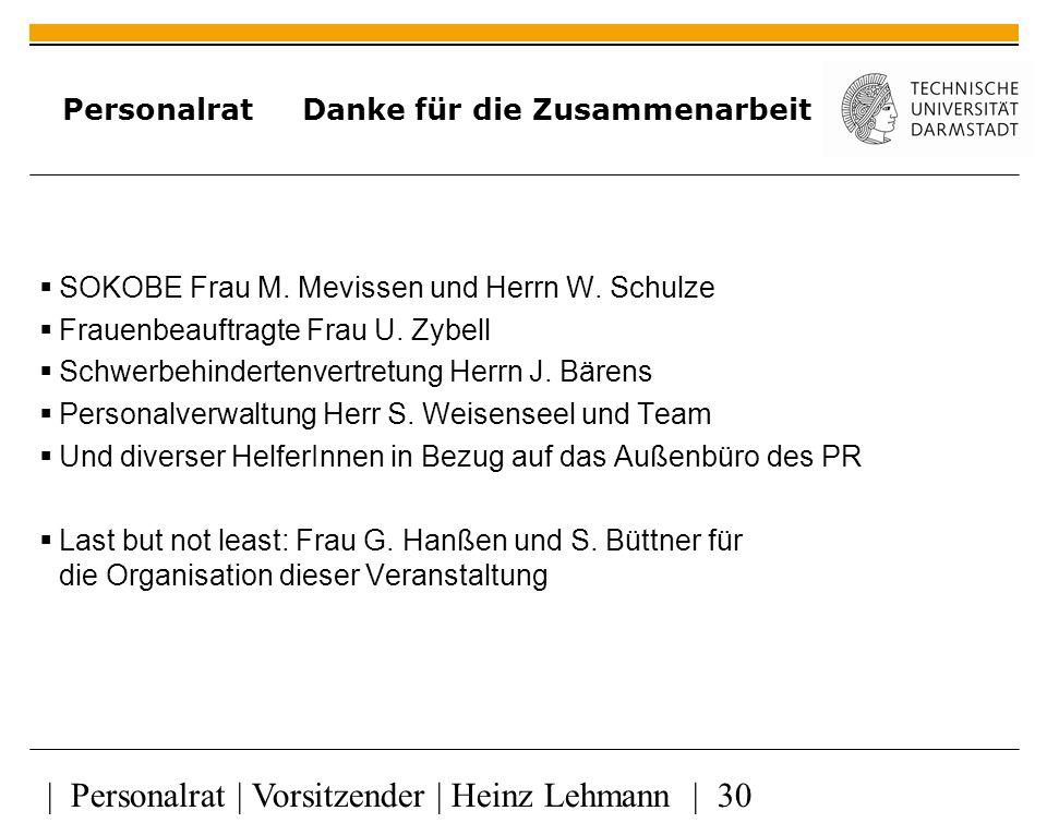 | Personalrat | Vorsitzender | Heinz Lehmann | 30 Personalrat Danke für die Zusammenarbeit SOKOBE Frau M.
