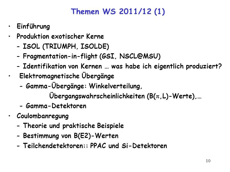 10 Themen WS 2011/12 (1) Einführung Produktion exotischer Kerne - ISOL (TRIUMPH, ISOLDE) - Fragmentation-in-flight (GSI, NSCL@MSU) - Identifikation vo