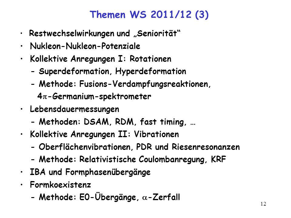 12 Themen WS 2011/12 (3) Restwechselwirkungen und Seniorität Nukleon-Nukleon-Potenziale Kollektive Anregungen I: Rotationen - Superdeformation, Hyperd
