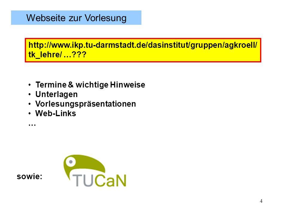4 Termine & wichtige Hinweise Unterlagen Vorlesungspräsentationen Web-Links … Webseite zur Vorlesung sowie: http://www.ikp.tu-darmstadt.de/dasinstitut