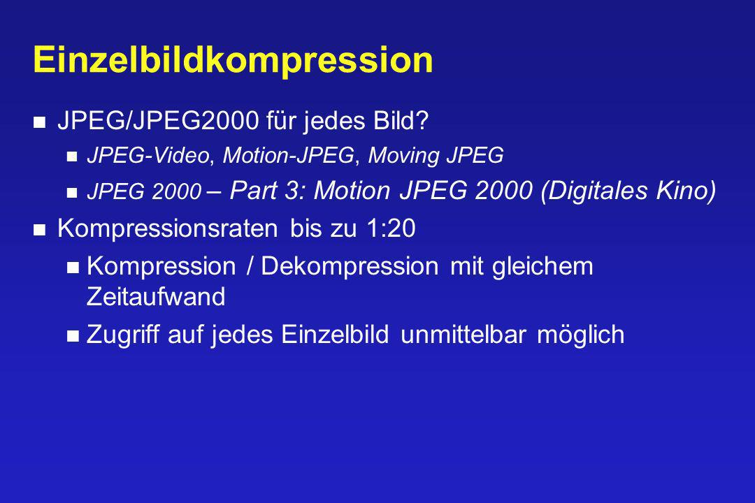 Einzelbildkompression JPEG/JPEG2000 für jedes Bild? JPEG-Video, Motion-JPEG, Moving JPEG JPEG 2000 – Part 3: Motion JPEG 2000 (Digitales Kino) Kompres