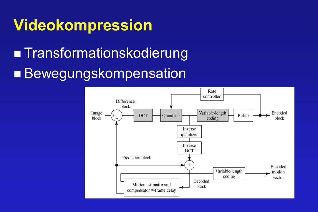Videokompression Transformationskodierung Bewegungskompensation