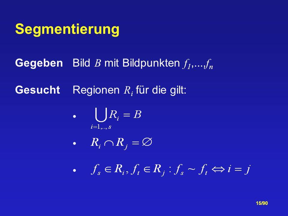 15/90 Gegeben Bild B mit Bildpunkten f 1,..., f n GesuchtRegionen R i für die gilt: Segmentierung