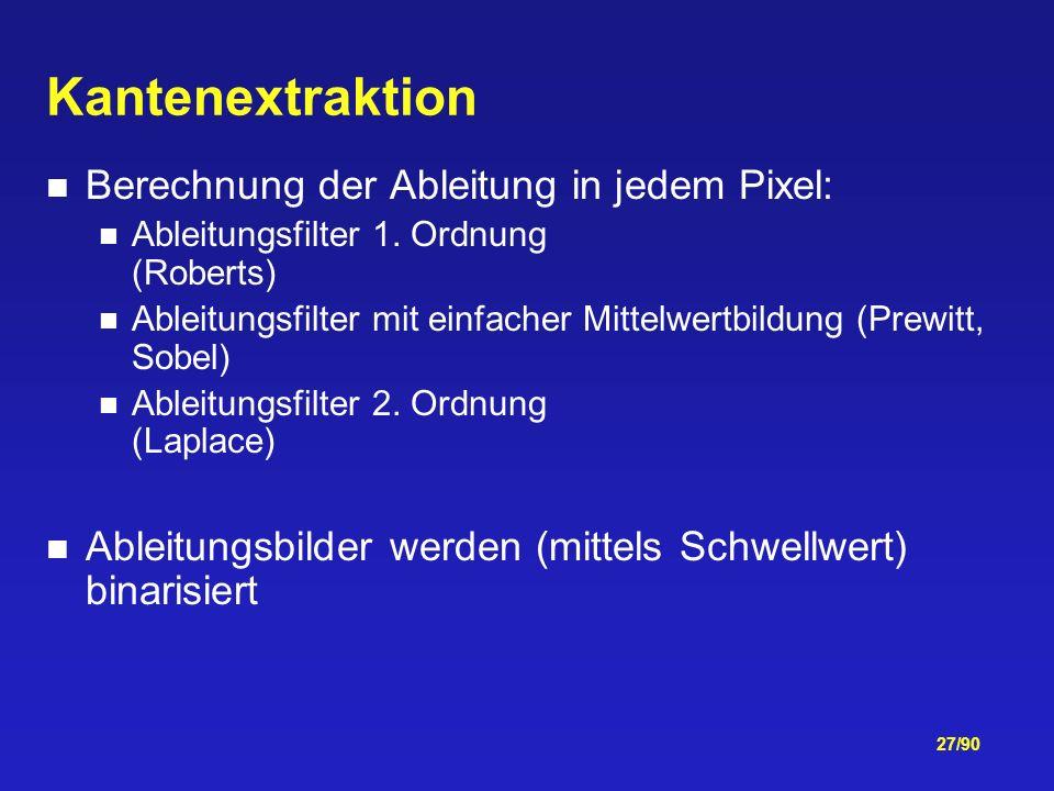 27/90 Kantenextraktion Berechnung der Ableitung in jedem Pixel: Ableitungsfilter 1.