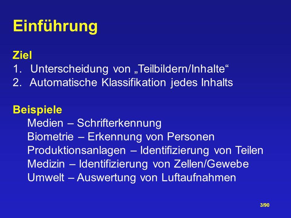3/90 Einführung Ziel 1.Unterscheidung von Teilbildern/Inhalte 2.