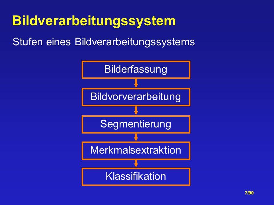 7/90 Bildverarbeitungssystem Stufen eines Bildverarbeitungssystems Bilderfassung Bildvorverarbeitung Segmentierung Merkmalsextraktion Klassifikation