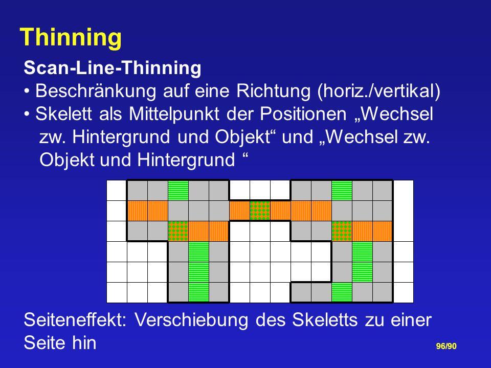 96/90 Thinning Scan-Line-Thinning Beschränkung auf eine Richtung (horiz./vertikal) Skelett als Mittelpunkt der Positionen Wechsel zw.