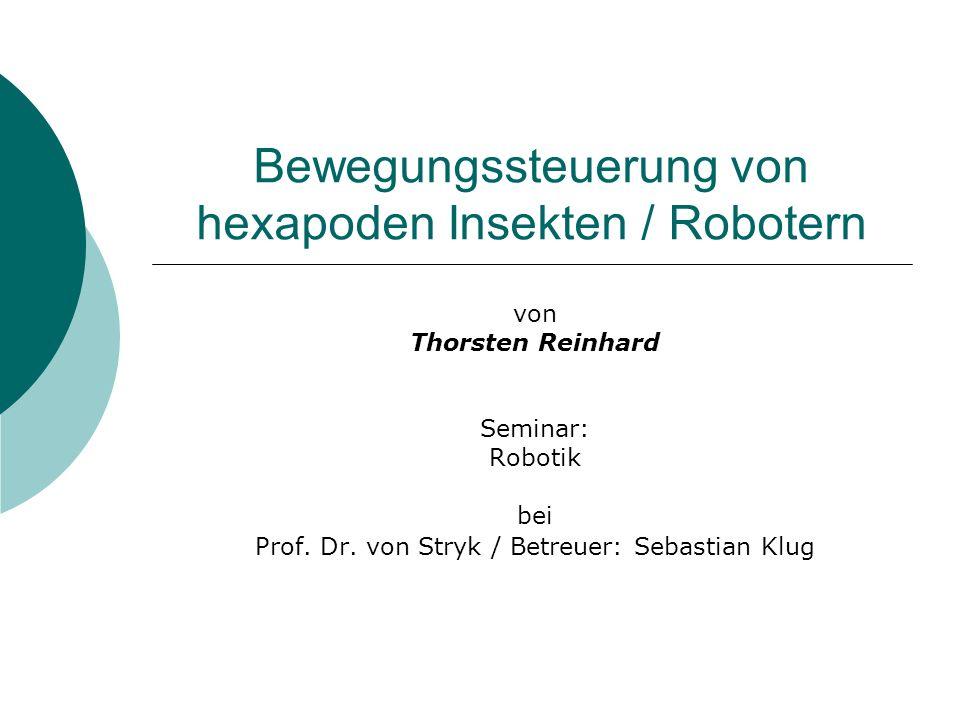 Bewegungssteuerung von hexapoden Insekten / Robotern von Thorsten Reinhard Seminar: Robotik bei Prof. Dr. von Stryk / Betreuer: Sebastian Klug