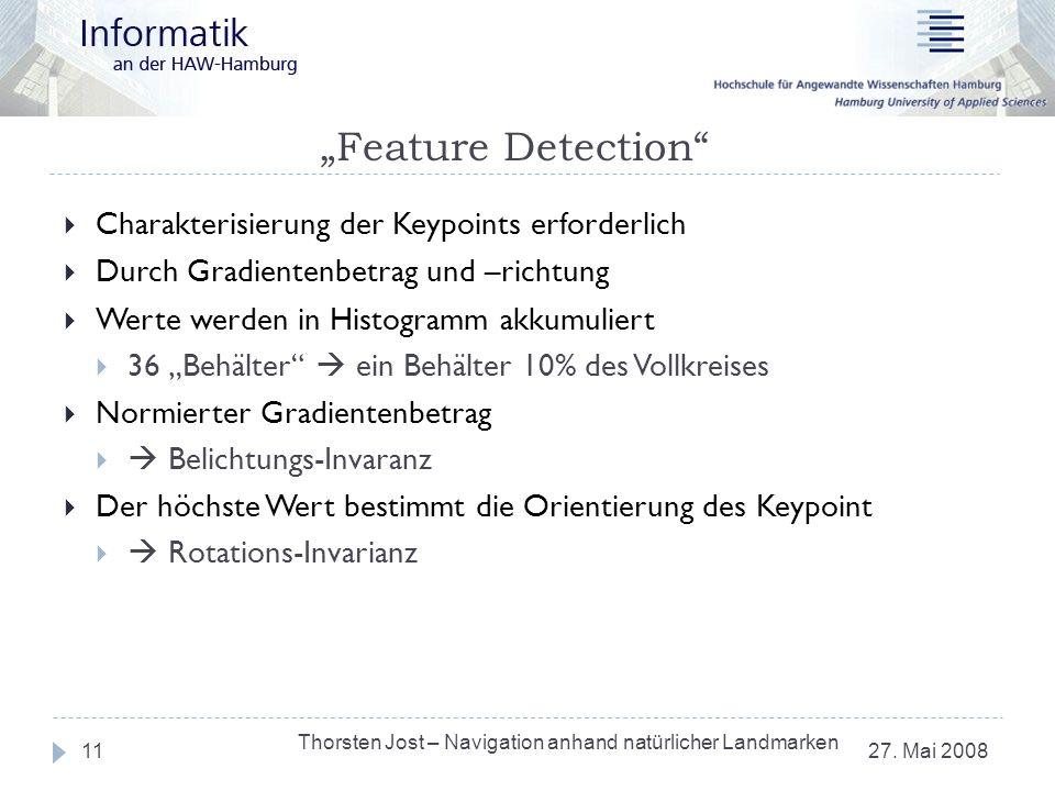 Feature Detection 27. Mai 2008 Thorsten Jost – Navigation anhand natürlicher Landmarken 11 Charakterisierung der Keypoints erforderlich Durch Gradient