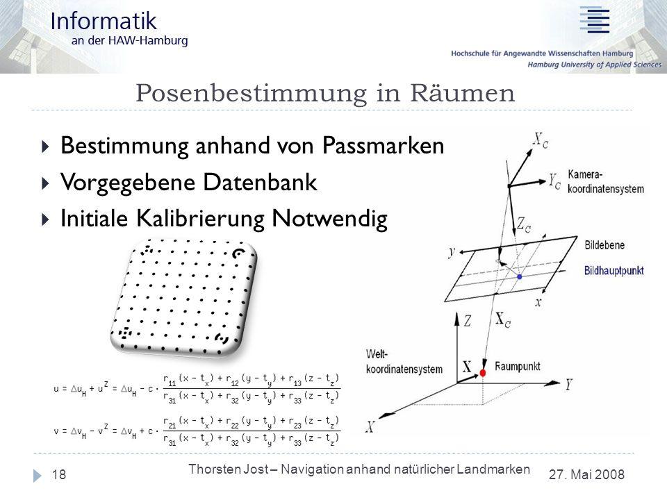 Posenbestimmung in Räumen 27. Mai 2008 Thorsten Jost – Navigation anhand natürlicher Landmarken 18 Bestimmung anhand von Passmarken Vorgegebene Datenb