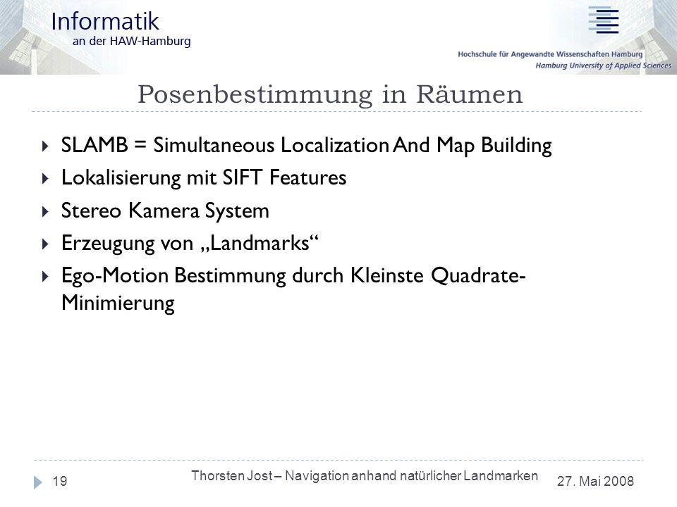 Posenbestimmung in Räumen 27. Mai 2008 Thorsten Jost – Navigation anhand natürlicher Landmarken 19 SLAMB = Simultaneous Localization And Map Building