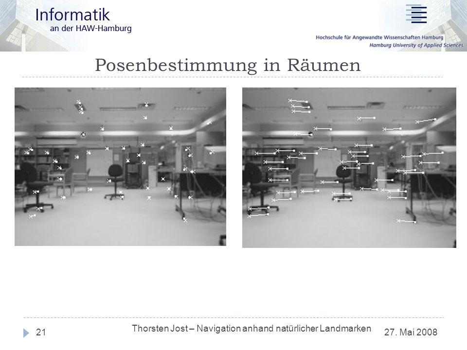 Posenbestimmung in Räumen 27. Mai 2008 Thorsten Jost – Navigation anhand natürlicher Landmarken 21