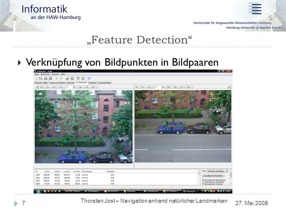 Feature Detection 27. Mai 2008 Thorsten Jost – Navigation anhand natürlicher Landmarken 7 Verknüpfung von Bildpunkten in Bildpaaren