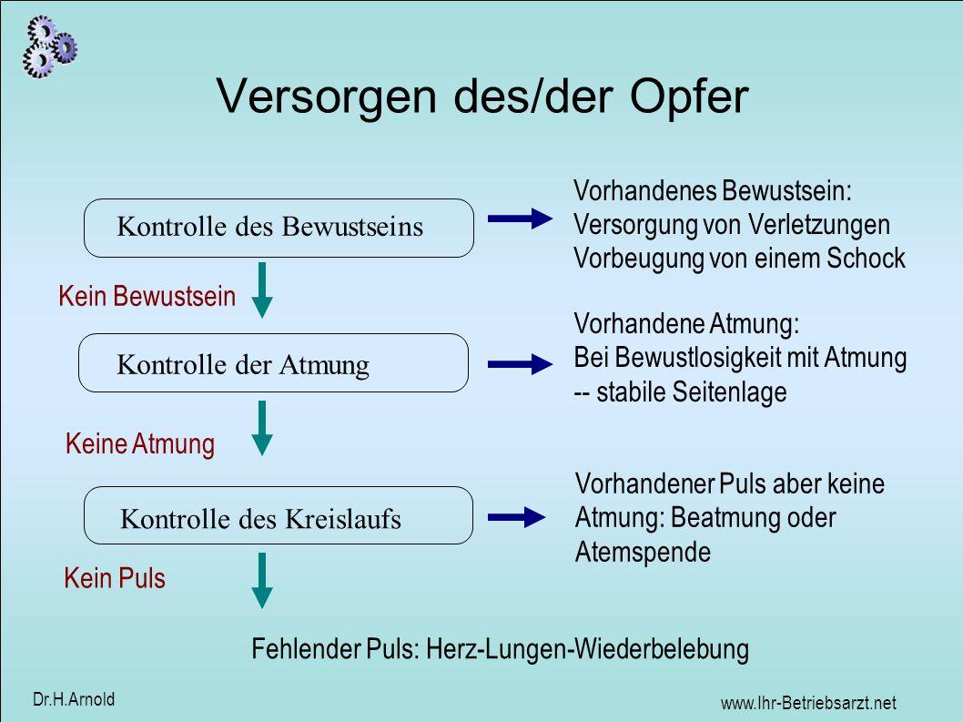 www.Ihr-Betriebsarzt.net Dr.H.Arnold Versorgen des/der Opfer Kontrolle der Atmung Kein Bewustsein Vorhandene Atmung: Bei Bewustlosigkeit mit Atmung --