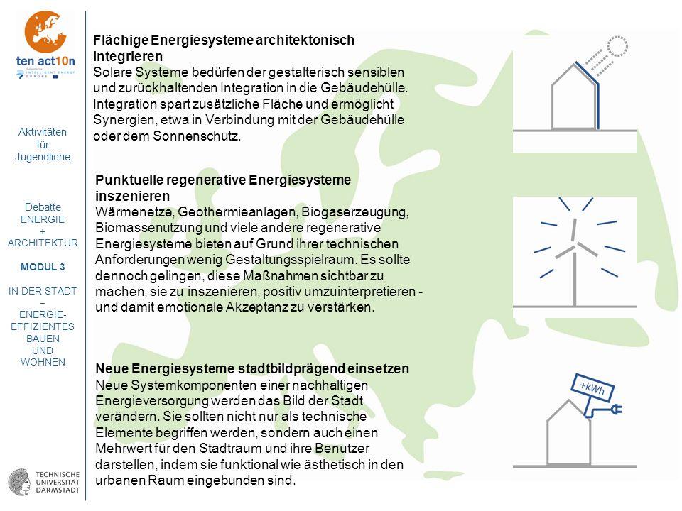 Aktivitäten für Jugendliche Debatte ENERGIE + ARCHITEKTUR MODUL 3 IN DER STADT – ENERGIE- EFFIZIENTES BAUEN UND WOHNEN Flächige Energiesysteme archite