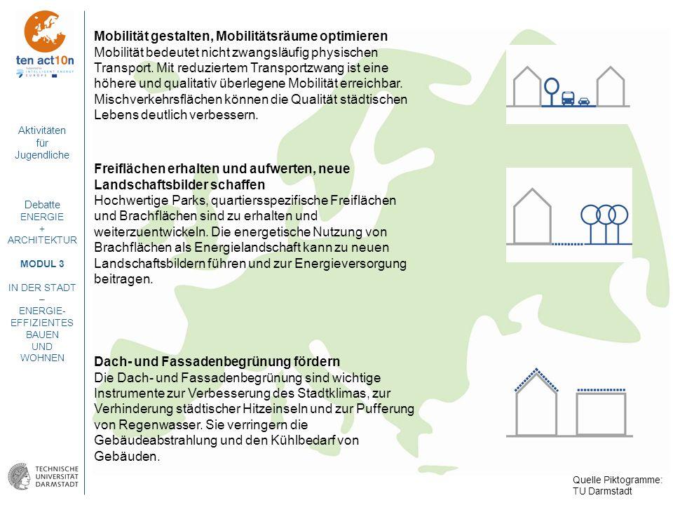 Aktivitäten für Jugendliche Debatte ENERGIE + ARCHITEKTUR MODUL 3 IN DER STADT – ENERGIE- EFFIZIENTES BAUEN UND WOHNEN Mobilität gestalten, Mobilitäts