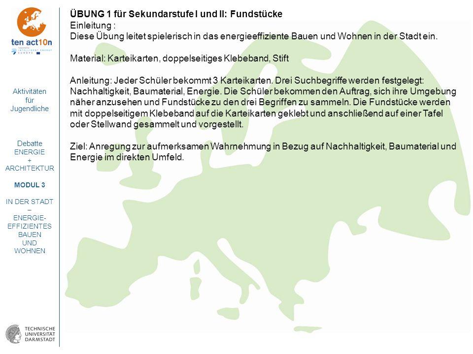 Aktivitäten für Jugendliche Debatte ENERGIE + ARCHITEKTUR MODUL 3 IN DER STADT – ENERGIE- EFFIZIENTES BAUEN UND WOHNEN ÜBUNG 1 für Sekundarstufe I und