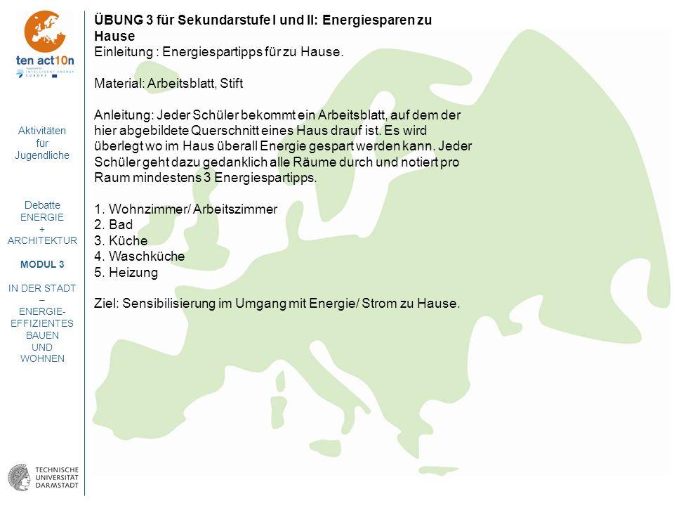 Aktivitäten für Jugendliche Debatte ENERGIE + ARCHITEKTUR MODUL 3 IN DER STADT – ENERGIE- EFFIZIENTES BAUEN UND WOHNEN ÜBUNG 3 für Sekundarstufe I und