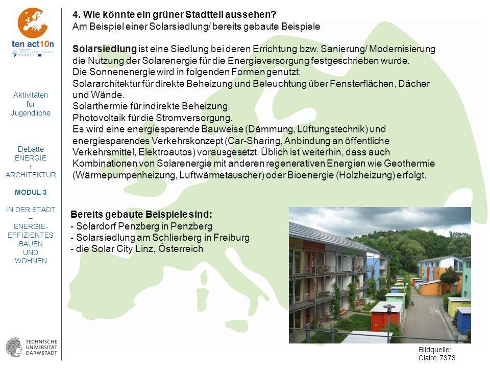 Aktivitäten für Jugendliche Debatte ENERGIE + ARCHITEKTUR MODUL 3 IN DER STADT – ENERGIE- EFFIZIENTES BAUEN UND WOHNEN 4. Wie könnte ein grüner Stadtt