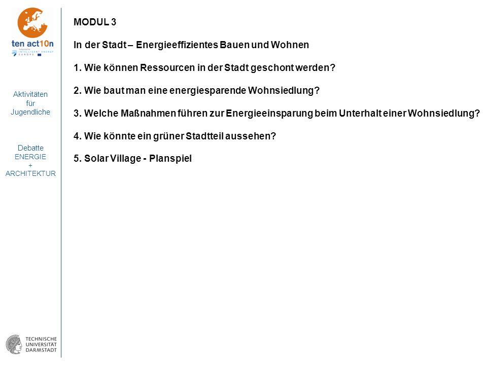 Aktivitäten für Jugendliche Debatte ENERGIE + ARCHITEKTUR MODUL 3 In der Stadt – Energieeffizientes Bauen und Wohnen 1. Wie können Ressourcen in der S