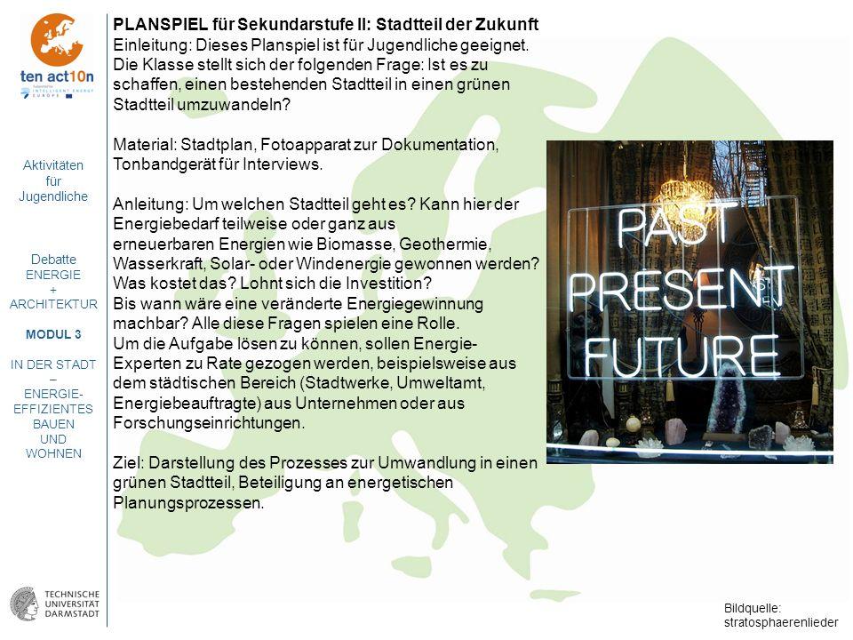 Aktivitäten für Jugendliche Debatte ENERGIE + ARCHITEKTUR MODUL 3 IN DER STADT – ENERGIE- EFFIZIENTES BAUEN UND WOHNEN PLANSPIEL für Sekundarstufe II: